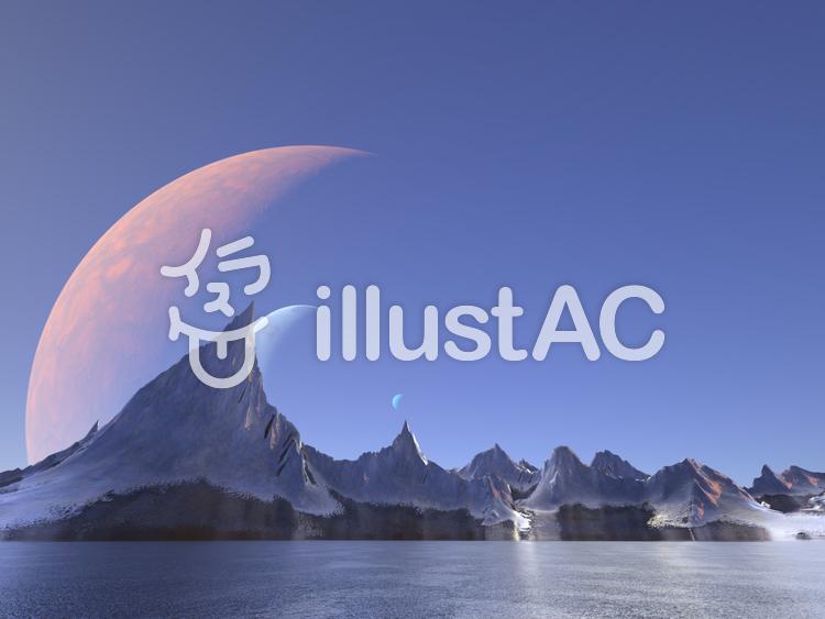 幻想的なファンタジーな景観のイラスト