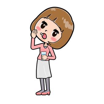 桃紅色衣裳的少婦
