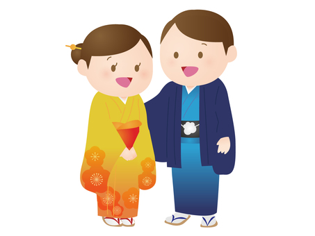 Kimono's man and woman