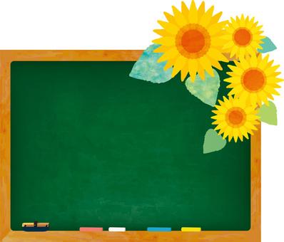 フレーム枠黒板背景壁紙ひまわり花夏休み絵
