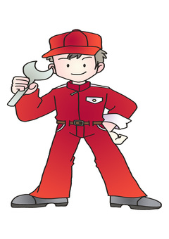 Automobile mechanic red working clothes