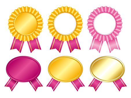 Gold and pink medal badge set