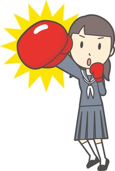 Junior high school sailor woman -117-whole body