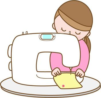 Woman making a sewing machine