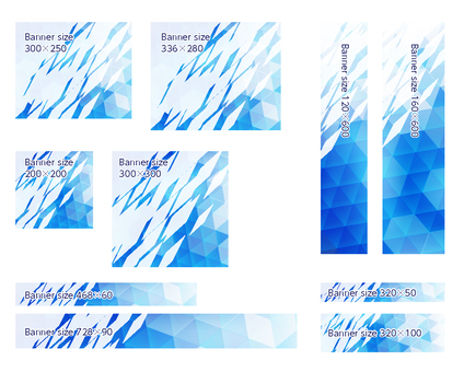 Light blue polygon banner frame background set