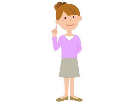 70109. Women skirt, pointing finger