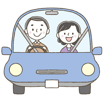 Cute elderly people driving a car / hand drawn