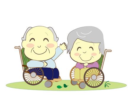 chacha 노인 휠체어 간호 잔디