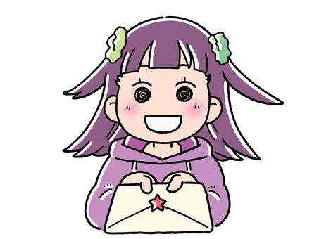 Girl 02 handing over a letter