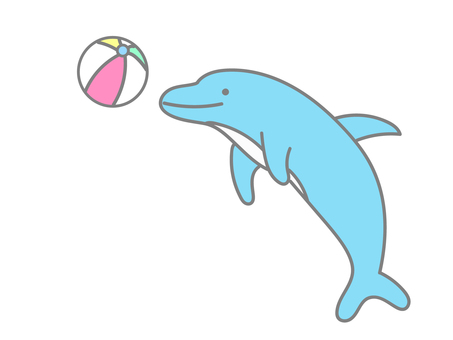 Dolphin playing with a beach ball