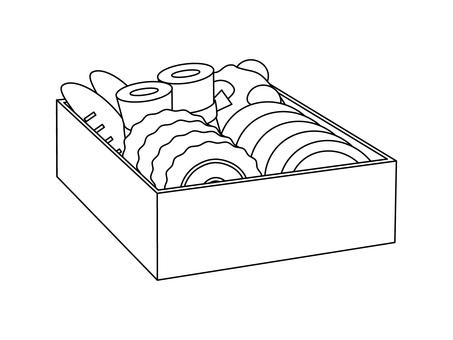 Osechi dish (line drawing)