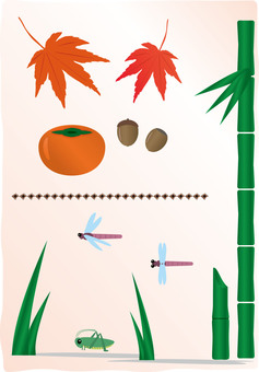Various autumn material collection