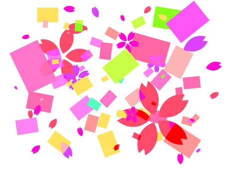 Colorful squares and petals background