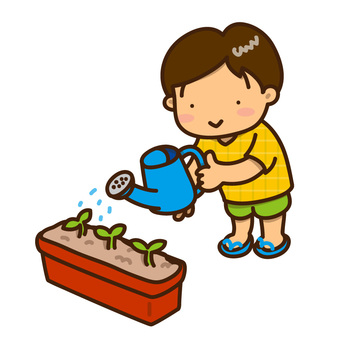 Illustration of a boy who gives water to a plant