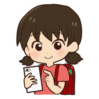 Children and smartphones (elementary school girls)