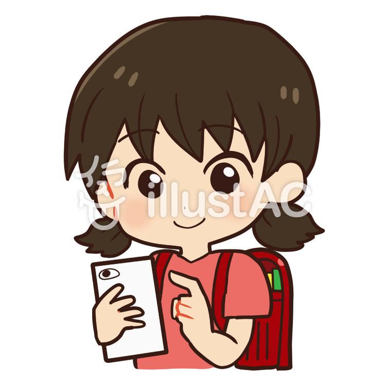 子どもとスマホ小学生女の子イラスト No 705057無料イラスト