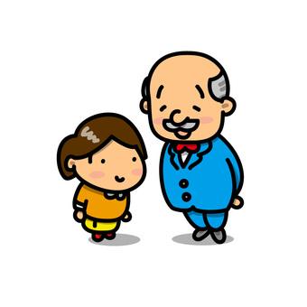 Illustration of a girl greeting the principal