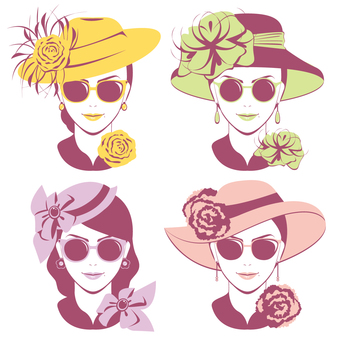 Sunglasses at fashionable hat ~ Coloring ~