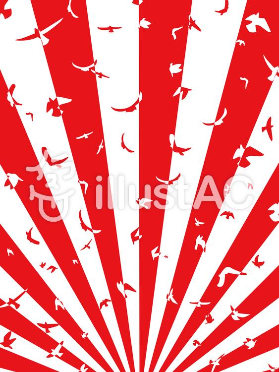 ハトの放射状背景・縦のイラスト