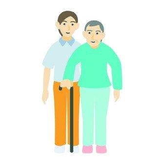 奶奶拄著拐杖走路(3)