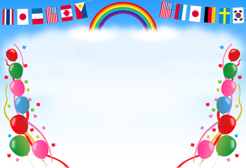 Sports day, background (rainbow, national flag, balloons)