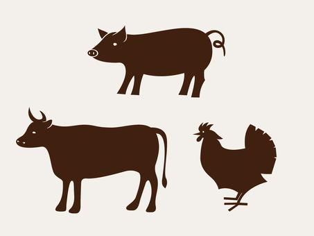 Pork cow chicken