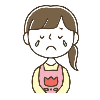 Crying female nurse / cute / hand drawn