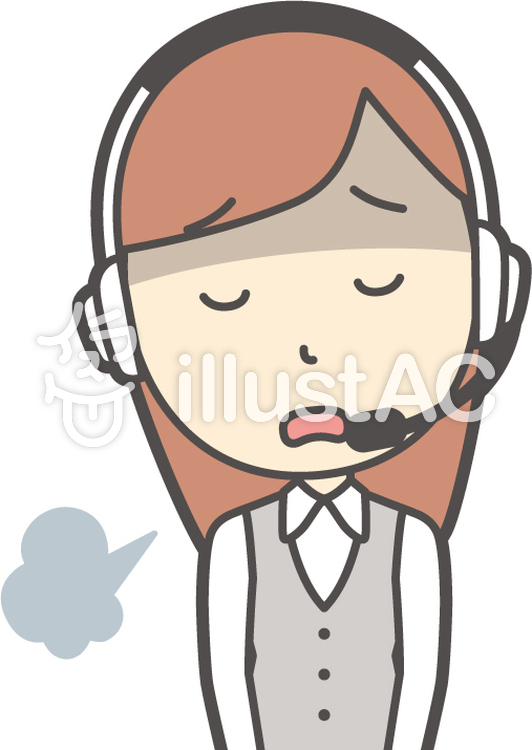 コールセンター女性-025-バストのイラスト