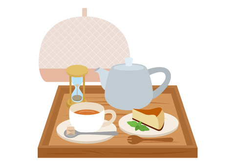 Set of tea and cheesecake