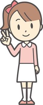 Girl pink long sleeve -107-whole body