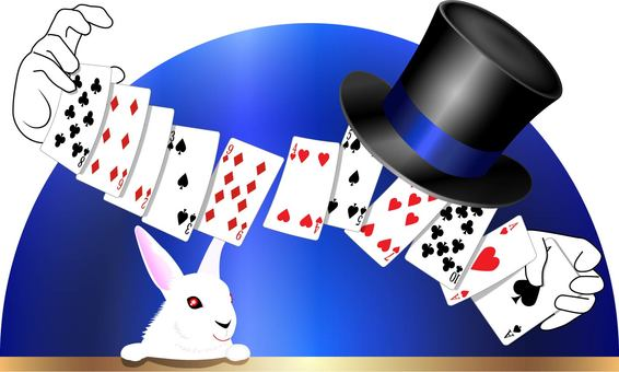 Trump magic tricks and top hat and rabbit