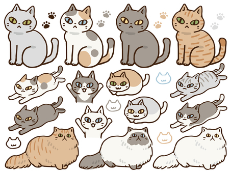 Hand drawn cat set 2
