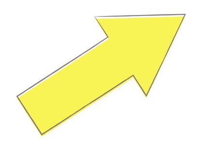 Hand-drawn wind arrow yellow