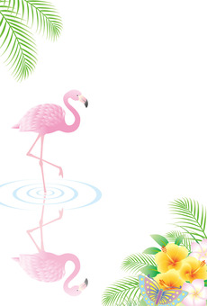 Flamingo and waterside landscape
