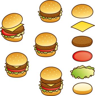 햄버거 (선 있음)
