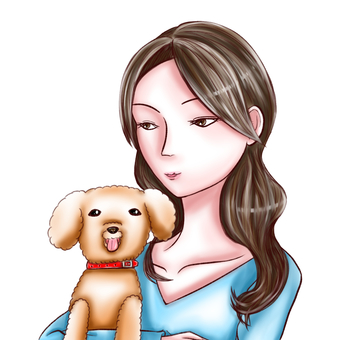 Woman holding a toy poodle