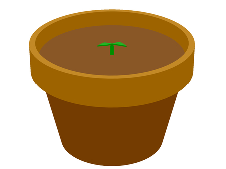 Flowerpot with sprouts