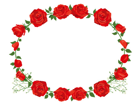 Red rose garland decoration card 01