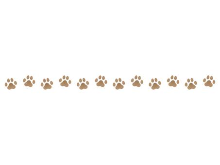 犬の足跡飾り線 ブラウン