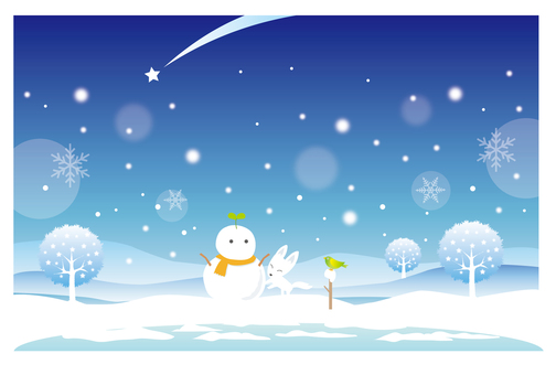 Winter landscape of snowman and white fox