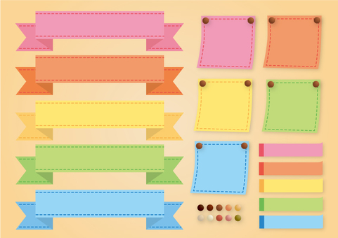 Colorful ribbon and sticky note