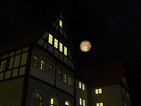 City at night: Medieval building style