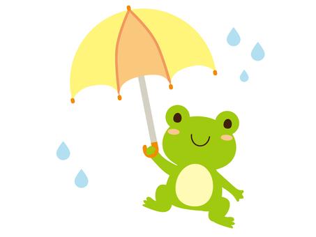 Frog holding an umbrella