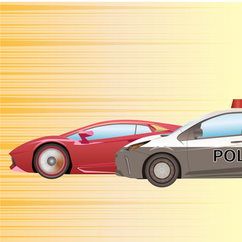 Super car and police car battle
