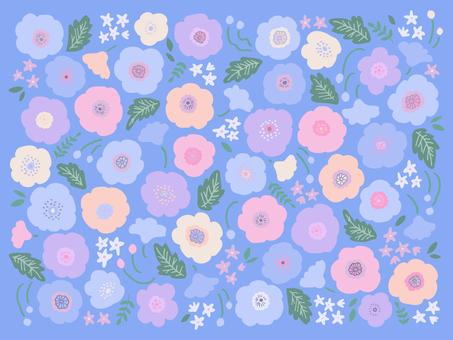 Hand-drawn poppy pattern 02 (blue)