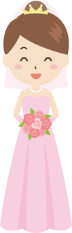 Bride | Wedding | Dress Peach | Bouquet