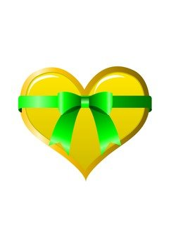 Heart with ribbon (yellow)