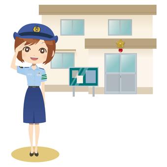 Female policeman & police box