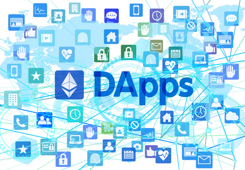 DApps distributed application and digital white background