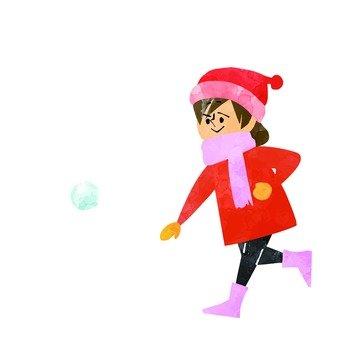 女孩打雪仗